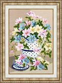 Вышитая картина с цветами